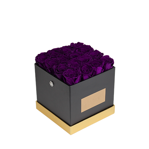 purple eternity roses - small black square box