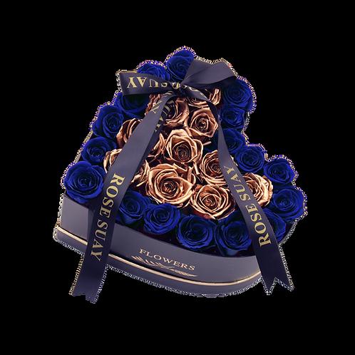 dark blue-24k gold eternity roses -small black heart