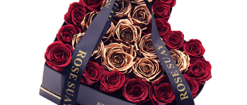 red wine-24k gold eternity roses -small black heart