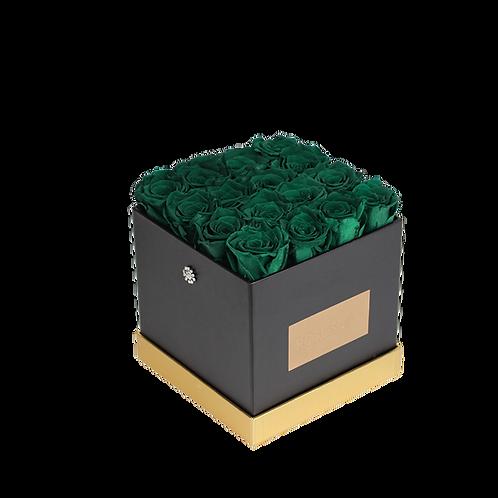 dark green eternity roses - small black square box