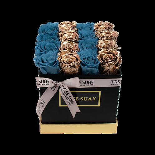 sea blue & 24k gold eternity roses - mini black square box