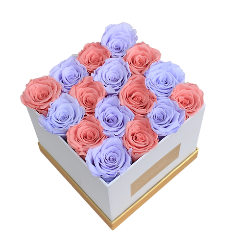 red coffee and lilac eternity roses -small white square box