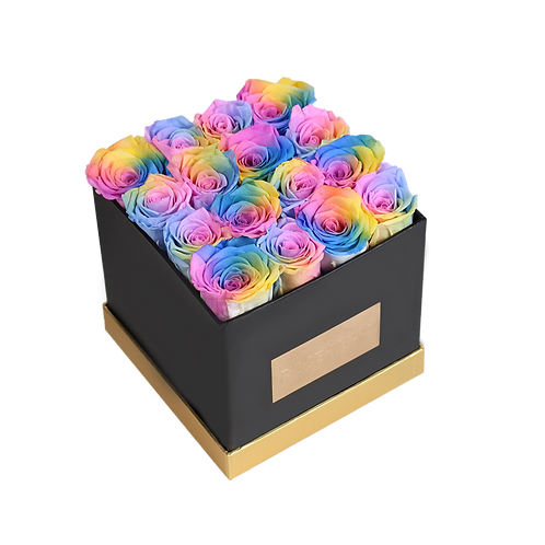 rainbow eternity roses -  small black square box