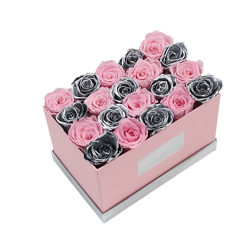 soft pink eternity roses - small pink rectangle box