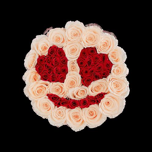 emoji design-eternity roses - midi white round box