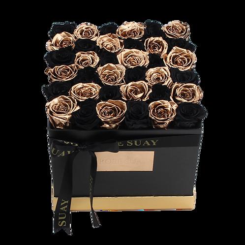 24k gold-black eternity roses-large black square box
