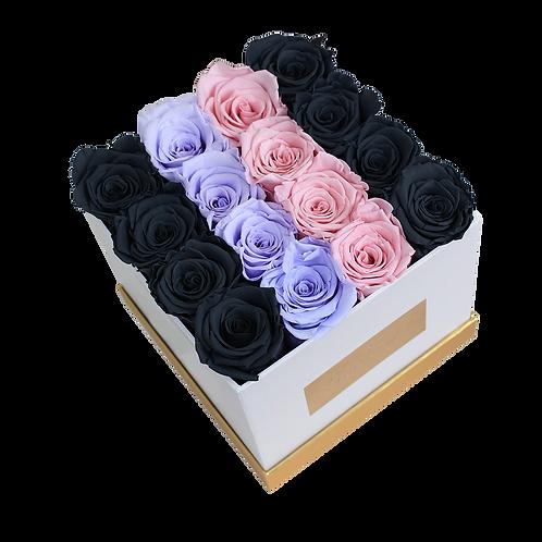 BLP mix,eternity roses-small white square box