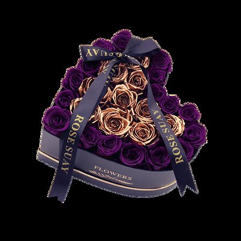 purple-24k gold eternity roses -small black heart