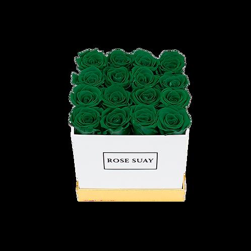 juniper green eternity roses -small white square box