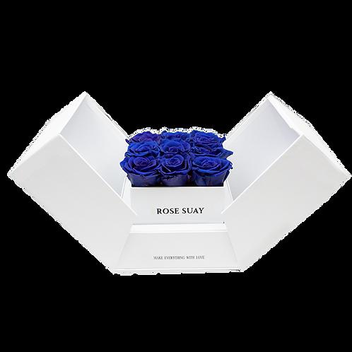azure blue eternity roses - white cube box