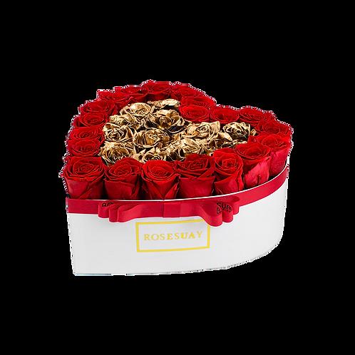 red-24k gold eternity roses - midi white heart box