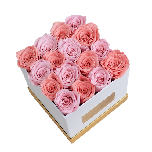 soft pink-red coffee eternity roses