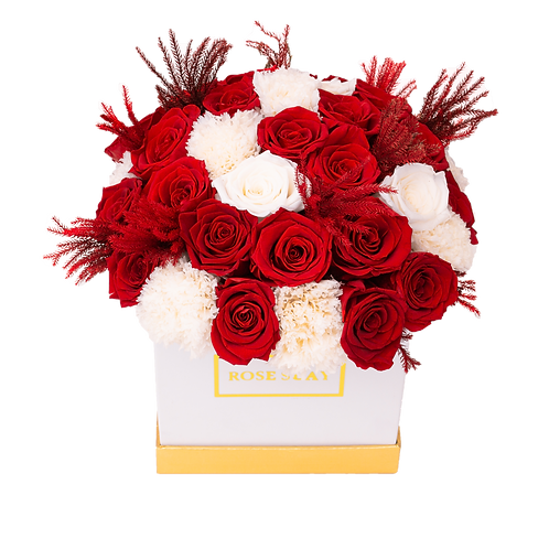 red-white eternity flowers | small square box