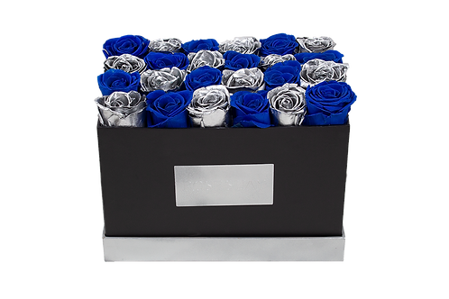 blue&silver eternity roses - small rectangle box