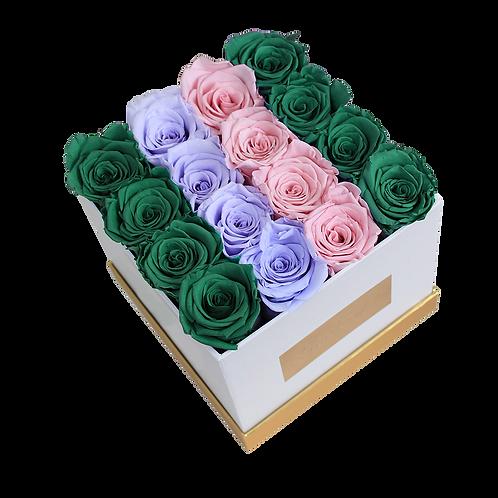 GLP mix,eternity roses - white square box