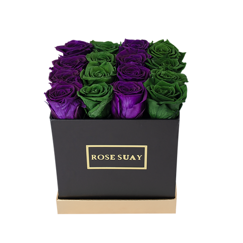 juniper green & egg plant eternity roses - midi black square box