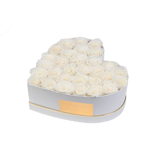 white eternity roses - medium white heart box