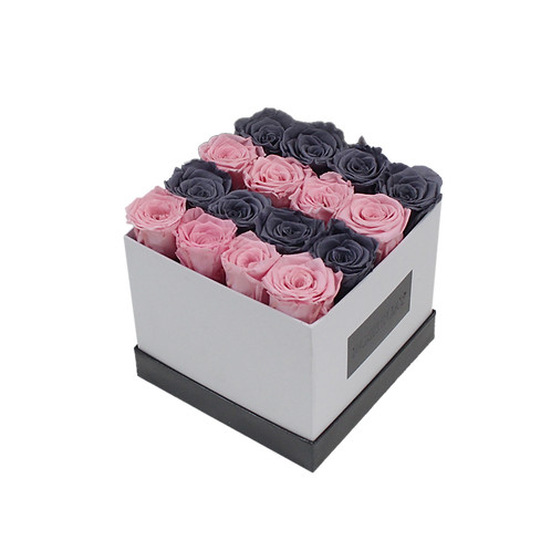 soft pink-gray  eternity roses - small white square box