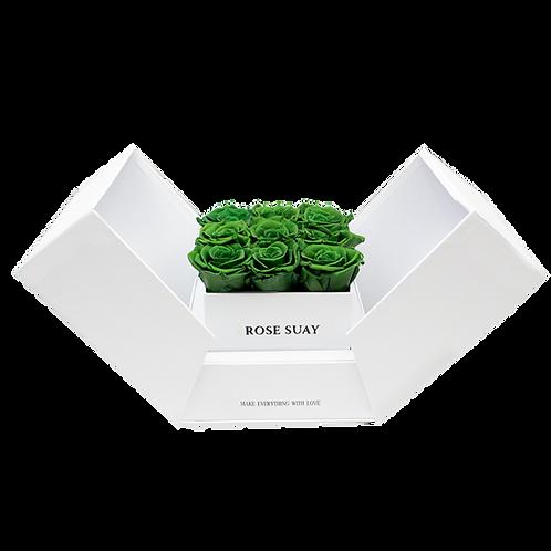 juniper green eternity roses - white cube box