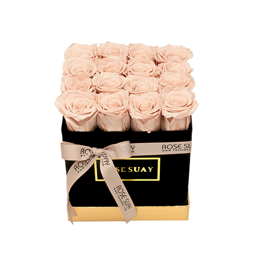 khaki eternity roses - small black square box