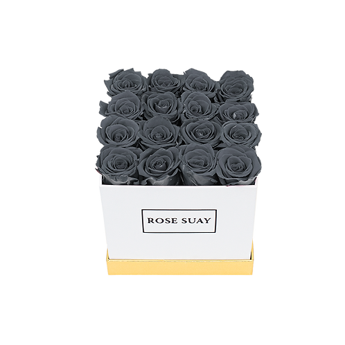 gray eternity roses -small white square box