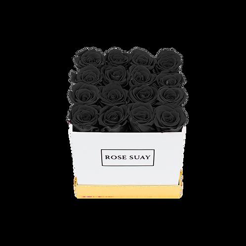 black eternity roses - small white square box