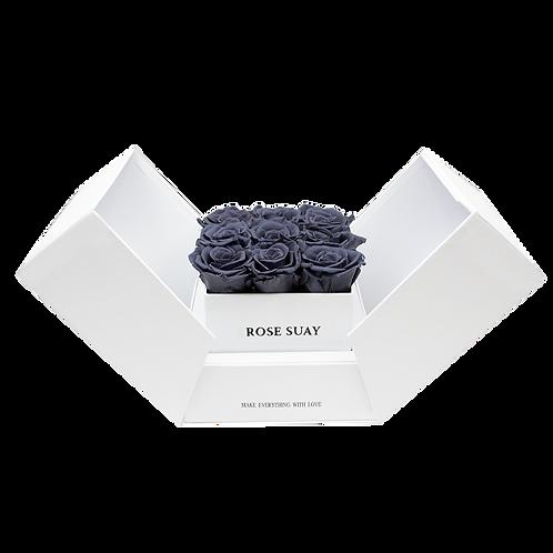 gray eternity roses - white cube box
