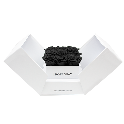 midnight black eternity roses - white cube box
