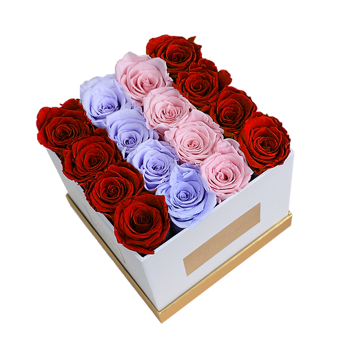 RLP mix eternity roses - small white square box