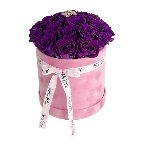 egg plant eternity roses - pink medium round box