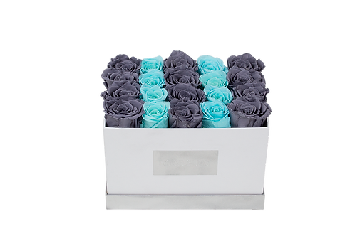 tiffany blue&gray eternity roses-small rectangle box
