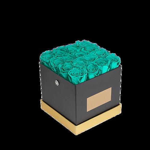 Tiffany blue eternity roses - small black square box