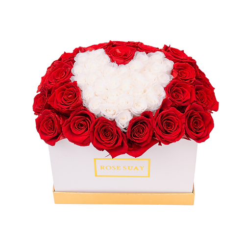 red eternity roses - small black square box