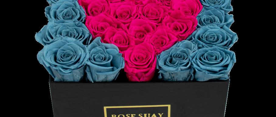 sea blue & hot pink eternity roses | midi black square box
