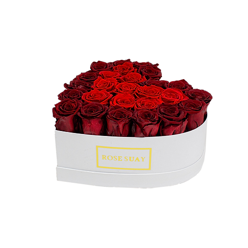 red - wine red eternity roses - small white heart box