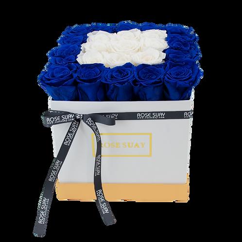 azure blue & white eternity roses - midi white square box