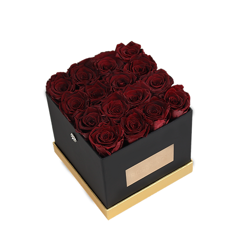 wine red eternity roses - small black square box