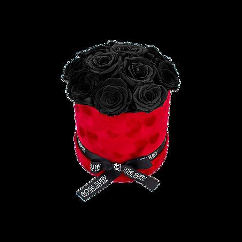 black eternity roses - small crimson red round velvet box
