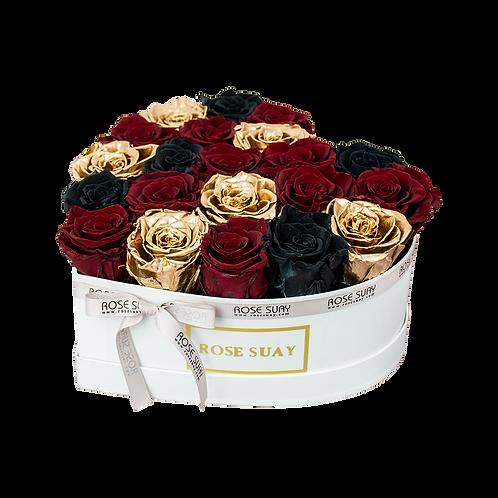 rgb mix eternity roses - mini white heart box