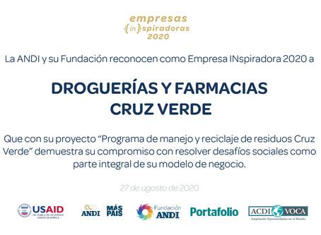 Droguerías CRUZ VERDE, empresa inspiradora 2020 y gran promesa en el manejo de reciclajes y residuos