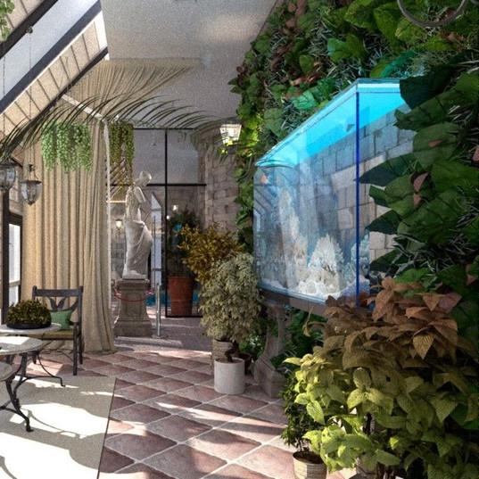 Сад на балконе ЭКО стиль Аквариум и цветы