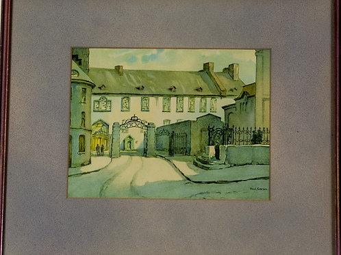 22 White Townhouse Gates (Print)   Clôtures d'une maison blanche (Estampe nu...