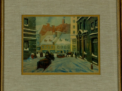 23-24 Winter Scene Painting (Old City Streets) & Chateau Richer, Quebec | Scè...