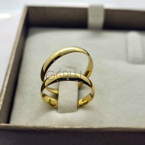 Par de Alianças Tradicional 3 mm de Casamento em Ouro 18K