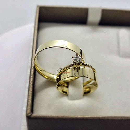 Par de Alianças Quadrada 5 mm de Casamento em Ouro 18K