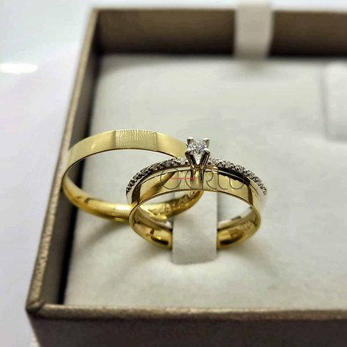 Par de Alianças de Casamento Quadrada com 3 mm de Largura Ouro 18K