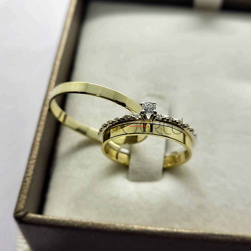 Par de Alianças de Casamento Quadrada 2 mm Largura - Ouro 14K