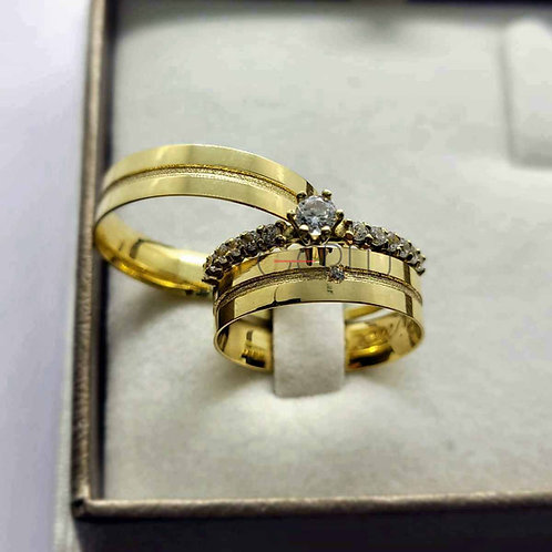 Par de Alianças Quadrada 5 mm de Casamento em Ouro 14K