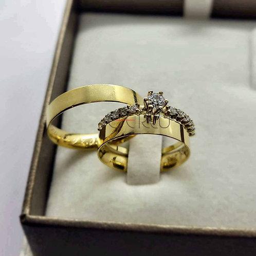 Par de Alianças Quadrada 3,5 mm de Casamento em Ouro 18K