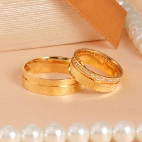 Par de Alianças de Casamento em Ouro 14K Quadrada 6 mm